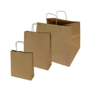torby papierowe brązowe z uchem skręcanym w trzech rozmiarach od najmniejszej do największej