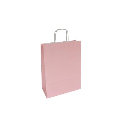 różowa torba papierowa z uchem